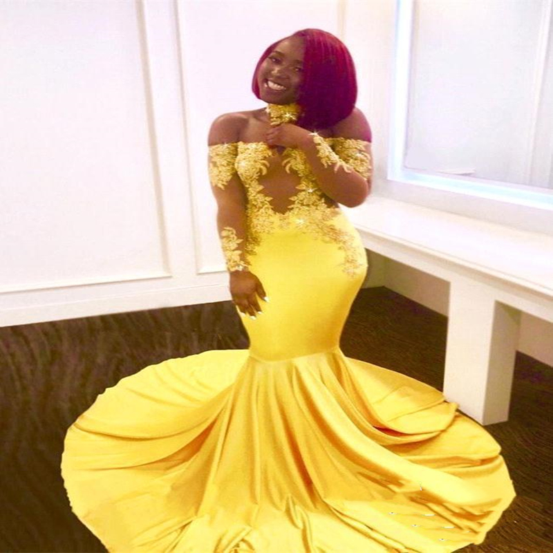 Yellow African Mermaid   Prom     Dresses   Long Lace Off Shoulder Long Sleeves See Through Sweep Train Formal Evening Party Wear Gowns