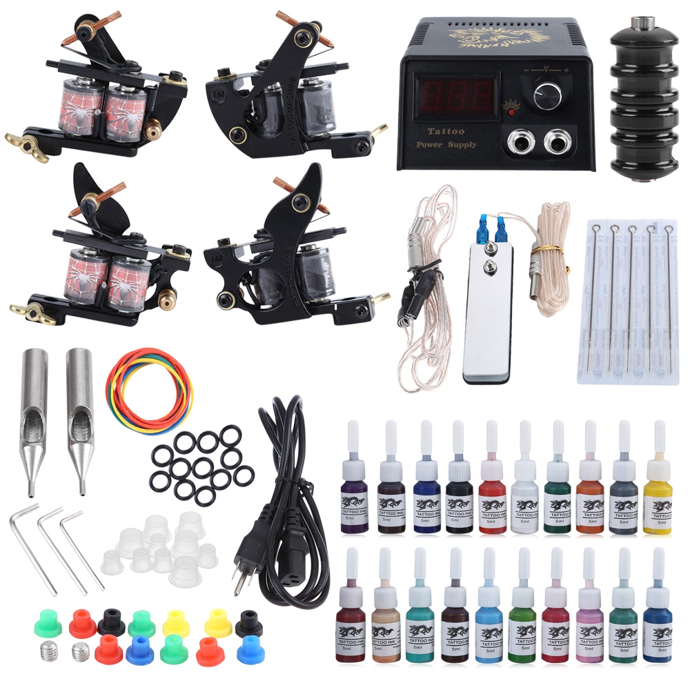 Tattoo Kit 2 Machine Guns Shader 20 Colors Ink Needles Power Supply Tips Stainless Steel Foot Pedal  5 Medium Ink Cup Tattoo Set solong tattoo complete tattoo kit 2 pro machine guns 54 inks power supply foot pedal needles grips tips tk244