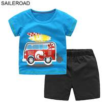 SAILEROAD Cartoon Bus Boys Clothing Sets Summer Kids Outfit Clothing Boy clothes 2Pieces Cotton Children's Tracksuit