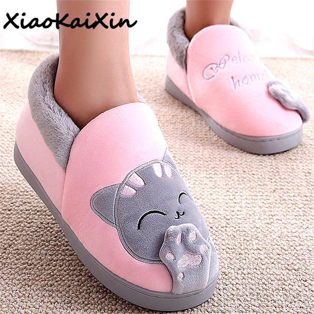 Women Winter Warm Home Slippers Cartoon Lucky cat Non-slip Home Shoes Men Indoor Floor Bedroom Lovers Couple Plush House Shoes