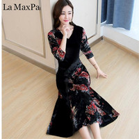 2018 New Autumn Winter cothes Velvet long dress women elegant retro maxi party runway dresses print floral robe chinese style