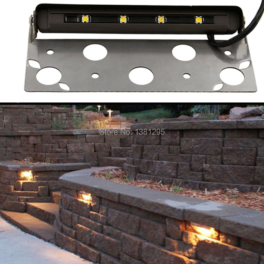 12pcs low voltage 12v led hardscape deck step outdoor garden path paver patio accent landscape light retaining wall lamp bracket