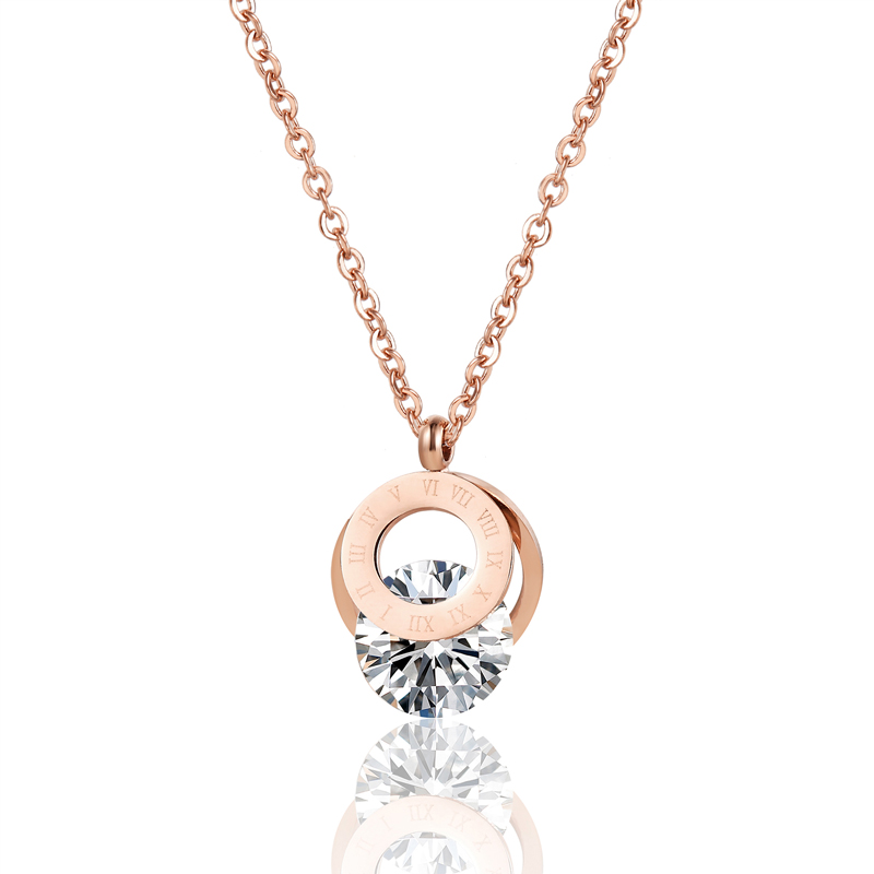 Roman Numeral Double Circle With Shiny Crystal Pendant