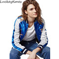 Luckeytimes Tiger Stain Embroidery Bomber Jacket Women Black Blue Eagle Souvenir Casual Jackets sukajan
