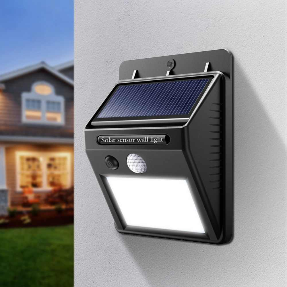 Outdoor Solar Powered LED Wall Lamp Porch Lights Night Sensor Control PIR Motion Sensor Solar Lamp Path Fence Garden Auto ON OFF