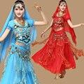 3 unids Set Sexy Vestido de la danza Del Vientre Egipto Traje de la Danza Del Vientre Traje Indio de Bollywood Womens Danza Del Vientre Traje Conjuntos