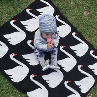New Baby Blanket Newborn Cotton Black White Swan Cross Flannel Kids Bedding Sofa Mantas BedSpread Bath