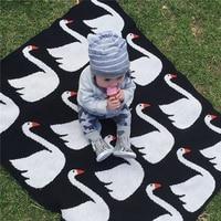 New Baby Blanket Newborn Cotton Black White Swan Cross Flannel Kids Bedding Sofa Mantas BedSpread Bath