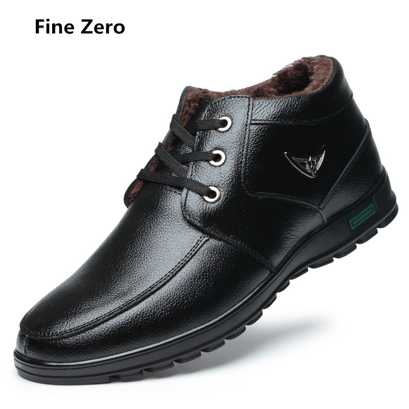 Fine Zero Men Business Dress Shoes Winter Warm Fur Plush Genuine Leather Lace Up Breathable Men Soft handmade driving Oxfords