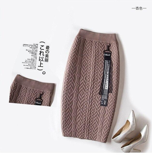 Шерстяной черный коричневый хаки, Черный Bodycon Тонкий трикотажные утолщение теплая юбка для женщин стрейч Высокая талия ПР Стиль юбки женские