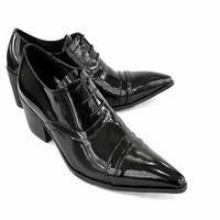 Luxuty Quality Fashion Genuine Leather Brogue Mens Oxford Dress Shoes Male Formal Business Pointed Toe Lace