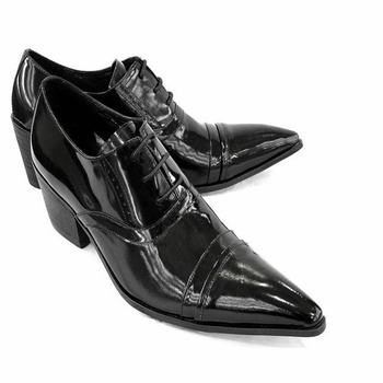 Luxuty Quality Fashion Genuine Leather Brogue Mens Oxford Dress Shoes Male Formal Business Pointed Toe Lace Up High Heels Retro leather