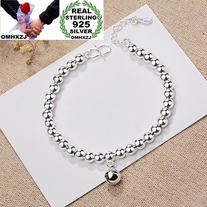 OMHXZJ Wholesale European Fashion Woman Girl Party Birthday Wedding Gift Vintage Beads Bell 925 Sterling Silver Bracelet BA111