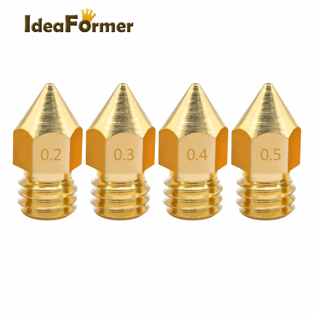 10pcs/lot Random Combination 3D Printer Nozzle 0.2/0.3/0.4/0.5mm J-head Extrusion Nozzle For 1.75mm Filament MK8 Nozzle