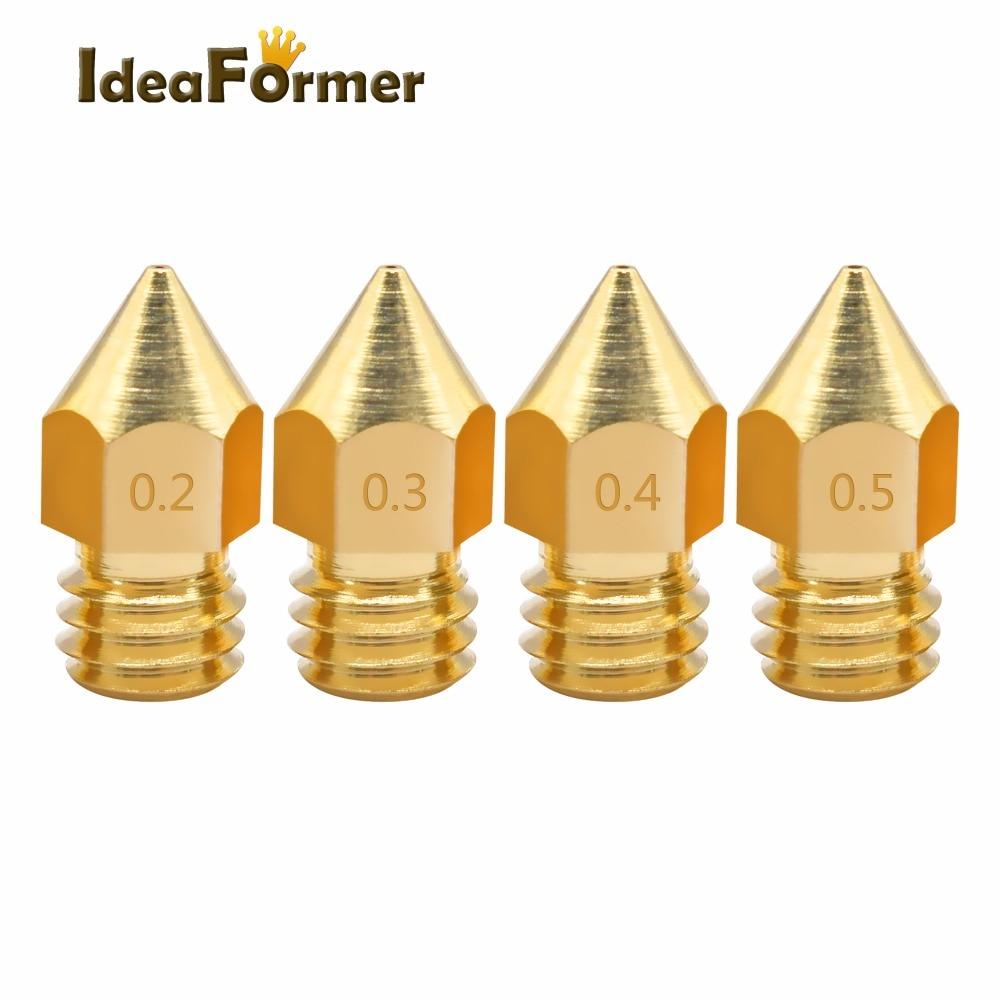 10pcs/lot Random Combination 3D Printer Nozzle 0.2/0.3/0.4/0.5mm J-head Extrusion Nozzle For 1.75mm Filament MK8 Nozzle