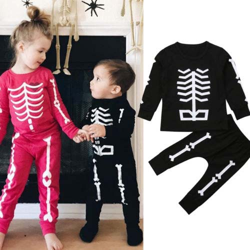a46285dd0a92 Pudcoco 2018 Toddler Baby Boy Girl Halloween Clothes Set Skeleton ...