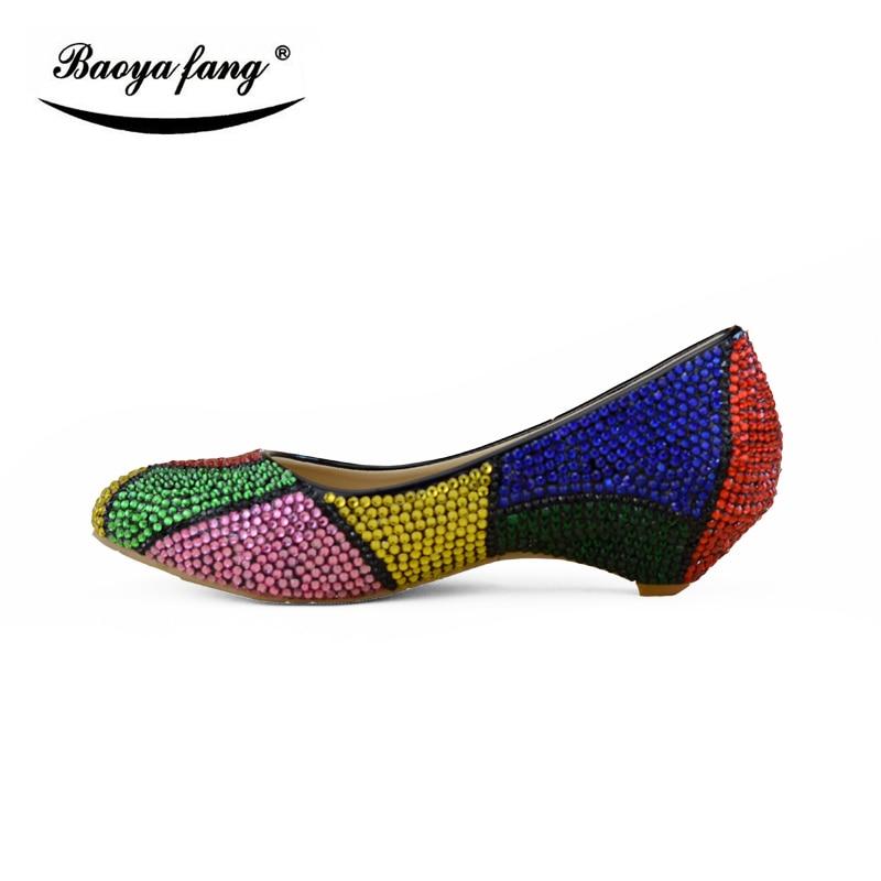 BaoYaFang New Multicolor crystal 2cm wedges women wedding shoes fashion Rhinestone party dress shoes female big