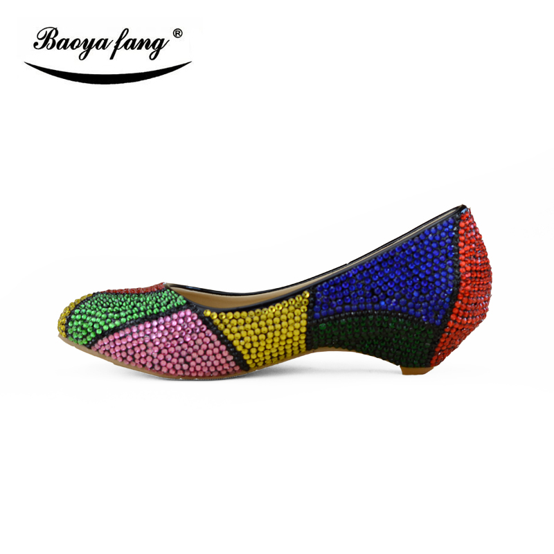 BaoYaFang nouveau cristal multicolore 2 cm cales femmes chaussures de mariage mode strass fête robe chaussures femme grande taille 44-in Escarpins femme from Chaussures    1