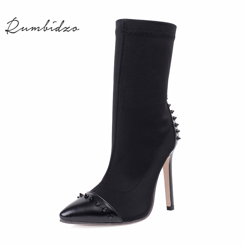Rumbidzo Women Boots 2018 New Pointed Toe Ankle Boots Spring Autumn Socks Bootie Rivets High Heels Mixed Color Botas Zapatos odetina fashion women pointed toe rivets loafers 2017 spring