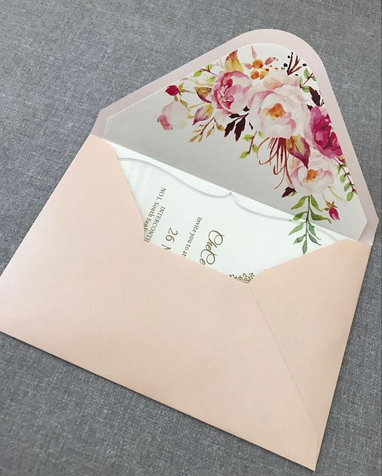 CA0888 Floral acrylic wedding invitation customized fancy shape with envelope liner w Kartki i zaproszenia od Dom i ogród na  Grupa 3