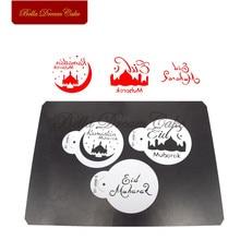 이드 무바라크 쿠키 스텐실 라마단 이슬람 커피 케이크 스텐실 템플릿 비스킷 퐁당 몰드 케이크 장식 도구 bakeware