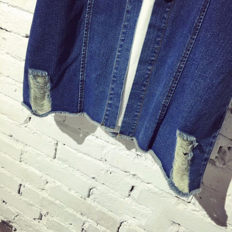 Womens Autumn Jackets And Coats 2016 New Design Frayed Washed Denim Outwear Girls Casual Slim Pocket Clothing New Street Fashion (9)
