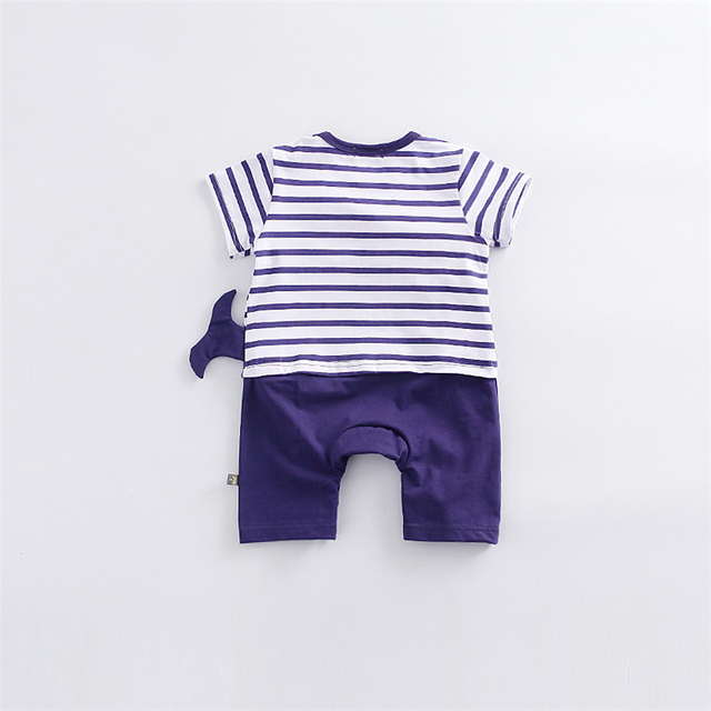 New Baby Rompers Hot Summer New Baby Boys Clothes Cartoon Whale Casual Stripe Short-sleeved Jumpsuit Toddlor Infant Clothing 1