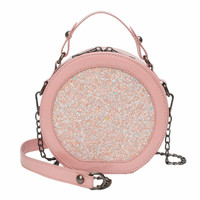 2019 Women Fashion Chain Handbag Sequin Shoulder Bag Woman Round Clutch Round Women Bag Red Leather Woman High Quality Crossbody