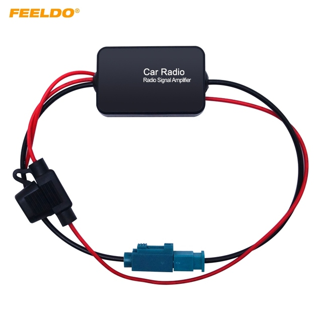 Special Offers FEELDO 12V Car Radio Aerial Antenna Signal Booster Amplifier For Car With FAKRA II Connector #FD-1051