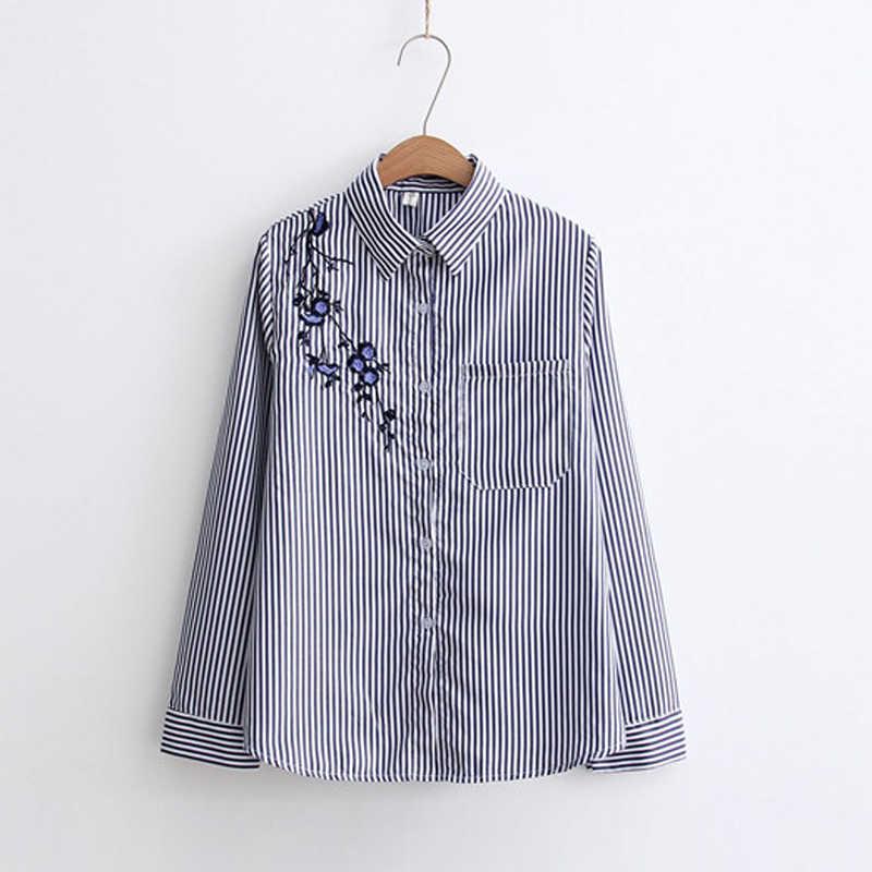 e85595b460b ... Осенняя Цветочная вышивка  Белый цвет с длинным рукавом Для женщин  блузки Синяя рубашка в полоску ...