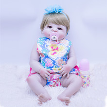 fashion blonde brown eyes Silicone Bebe Reborn Girl Dolls 55cm real Newborn Babies with blue hair band Bathe Toy children Gift(China)
