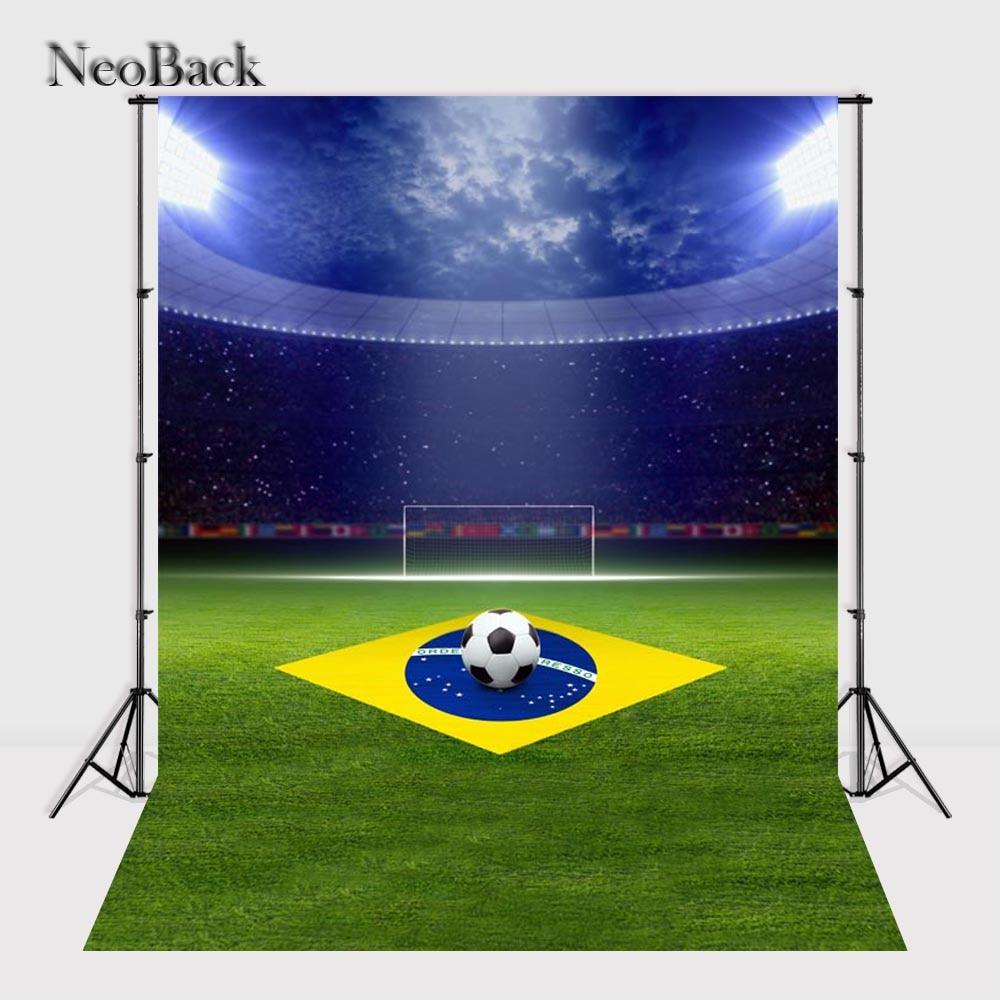 NeoBack 5x7ft Thin Vinyl Brazil Football Sport Event Photo Backgrounds Children Kids Studio Senior Portrait Backdrops P2322 brazil football fans caxirola cheer horn for 2014 brazil fifa world cup