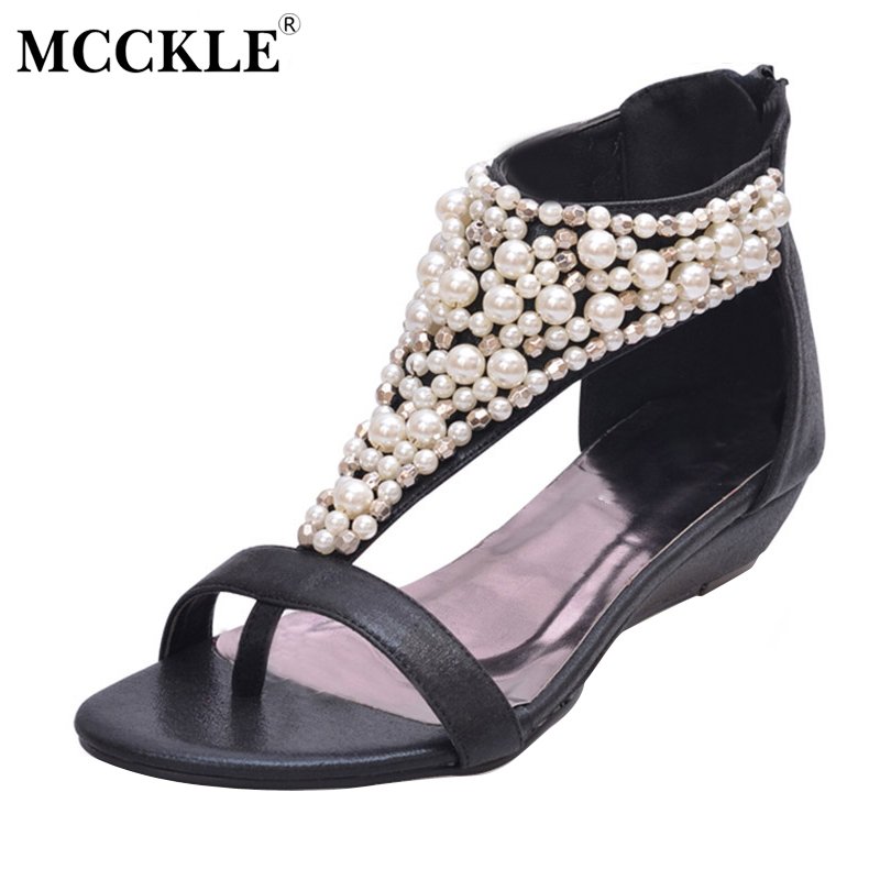 MCCKLE Woman Summer Sandals Open Toe Zipper String Beaded Shoes Female Wedges Thong Sandals Ladies High Heels Shoes Black J3915 e toy word summer platform wedges women sandals antiskid high heels shoes string beads open toe female slippers