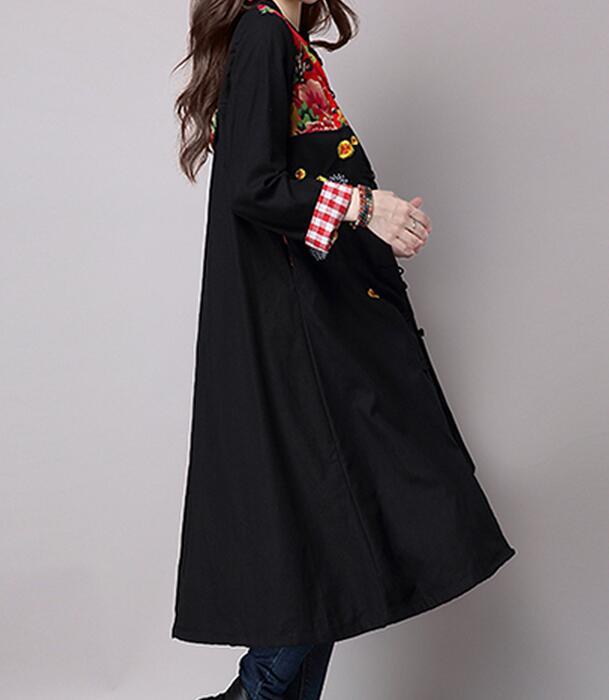Nouvelle Chaude 2019 En M Manteau Broderie Mode Longue Noir xl Tranchée Couture Lâche Femmes Printemps XxwRwF