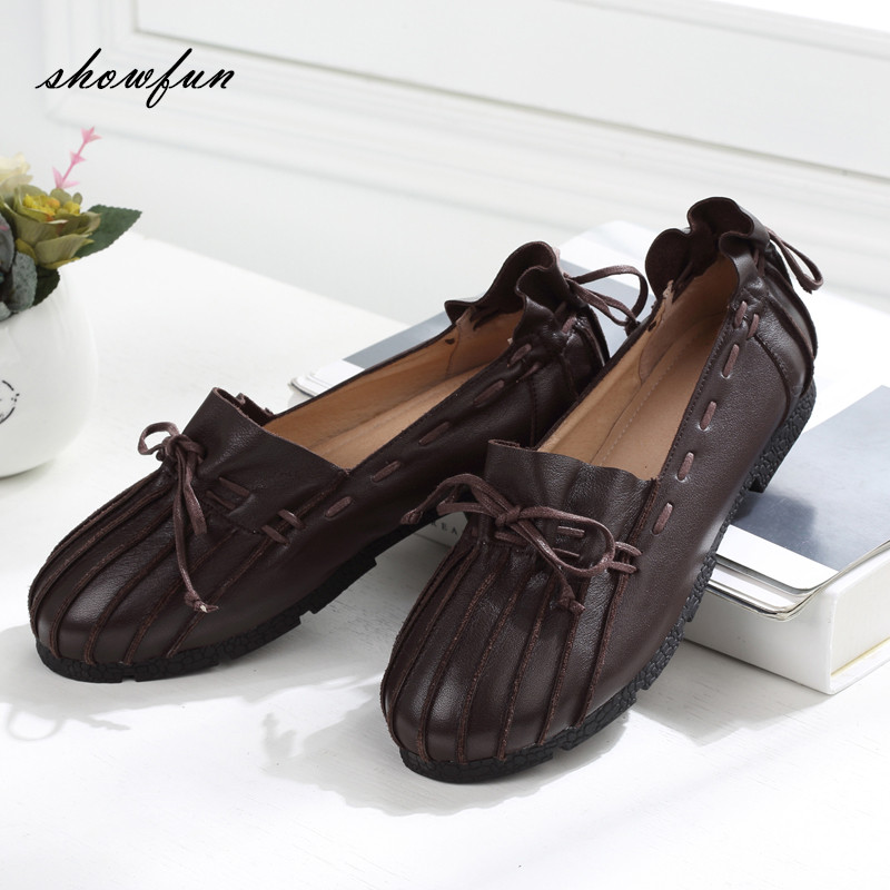 Women's Genuine Leather Slip-on Moccasins Brand Designer Sweet Bowtie Ballet Flats Round Toe Ballerinas Shoes Women Plus Size plus size 34 41 black khaki lace bow flats shoes for womens ds219 fashion round toe bowtie sweet spring summer fall flats shoes