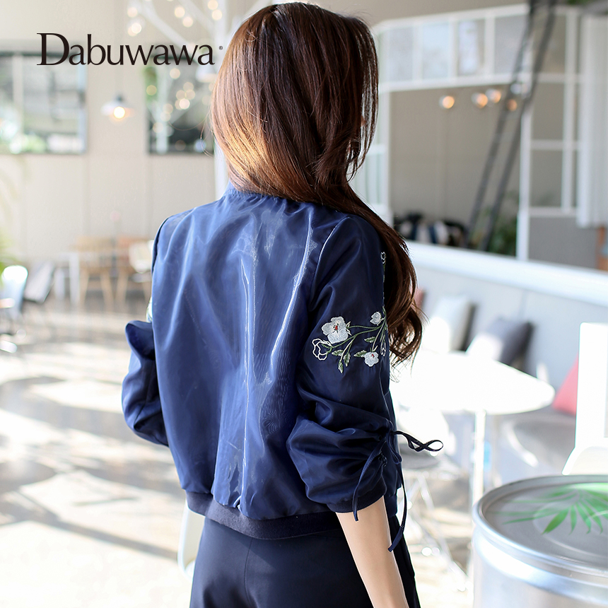 Dabuwawa Dark Blue Spring Short Bomber Jacket Floral Embroidery Jacket Women Long Sleeve Casual Baseball Coat 2