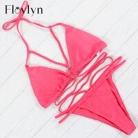 Floylyn Sexy Bandage Brazilian Bikini Swimwear Women Bikini Push Up Crochet Bikini Set Ladies Biquini Thong