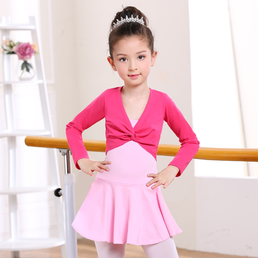 New 2017 Girl Ballet Gymnastic Leotard Jacket Long Sleeved Dance Sweater Top Coat Kids Dance Clothing Jacket Wrap Ballet
