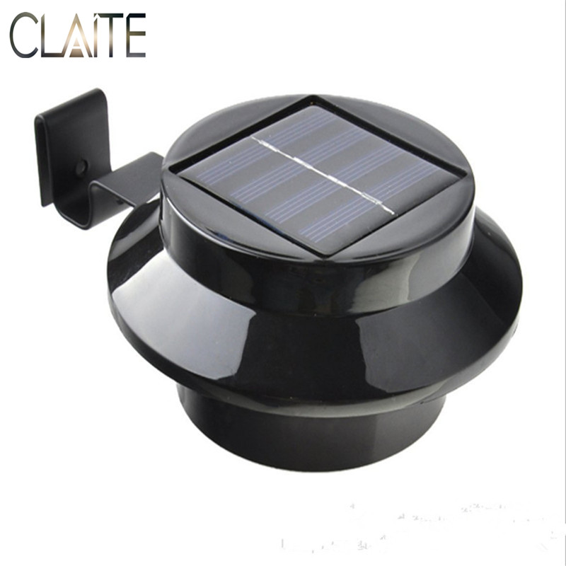 CLAITE Outdoor LED Solar Lights Waterproof Wall Light 3 LEDs Garden Security Street Lamp Fence Gutter Roof Yard Light fghgf 2018 light sensor 6 led wall light outdoor garden fence ip55 waterproof lamp automatically light gutter fence warm white