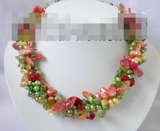 song voge gem nanJ1757 4row multicolour pearl citrine flower coral necklace