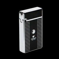 COHIBA Portable Carré Blanc Plaid Motif Titanium Torche Jet Flamme Air l'inflation Allume-cigare 2 pcs/lot