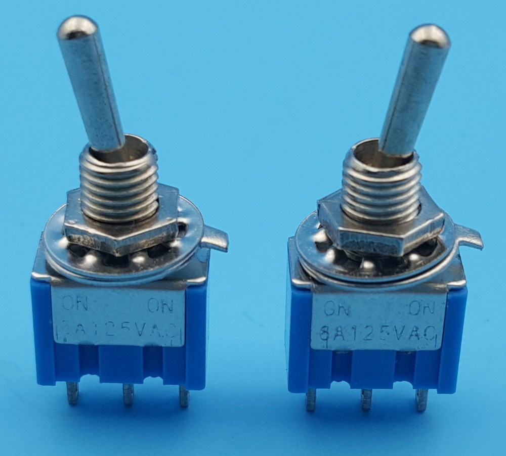 Free Shipping  50Pcs Blue MTS-102 3-Pin 6MM Mini SPDT ON--ON 6A 125VAC Toggle Switches 5pc lot free shipping new long flat handle 3 pin on off on spdt cqc rohs silvery point rocker toggle switch ac 6a 125v 3a 250v