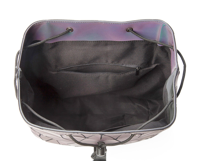 Women Backpack Luminous Geometric Plaid Sequin Female Backpacks For Teenage Girls Bagpack Drawstring Bag Holographic Backpack 4
