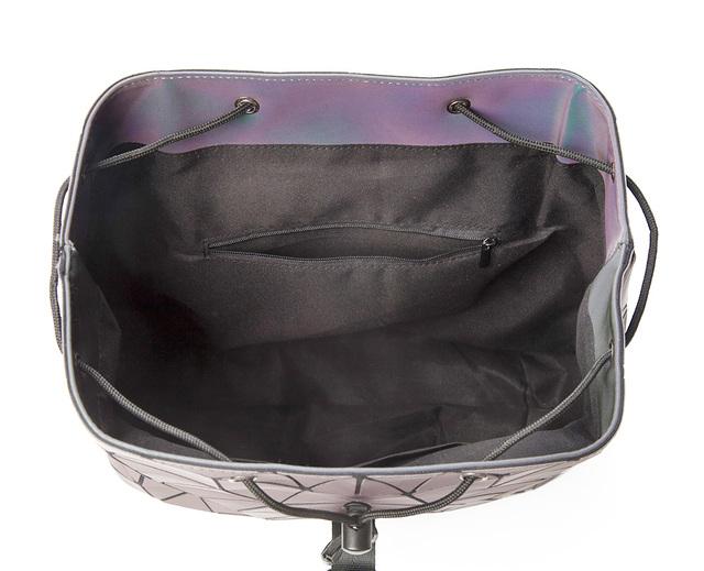 Women's Ipad Backpack Luminous Geometric Plaid Sequin Drawstring