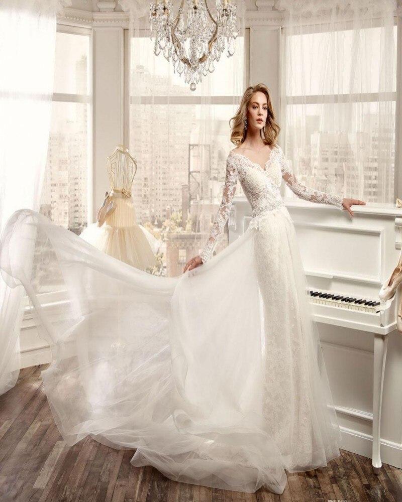 Nicole Spose 2017 Conception Robes De Mariée À Manches Longues Sexy Col V Dos Nu Dentelle