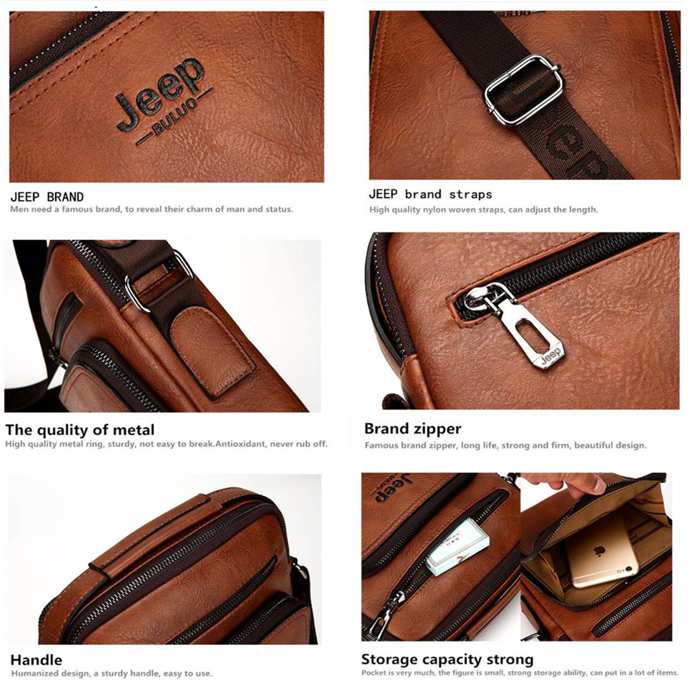 15e55b0a34 Jeep Brand Man Leather Bag High Quality Business Briefcase Tote Bags Male  Cow Split Leather Handbag Messenger Bag For Men 6001-in Top-Handle Bags  from ...