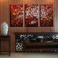 Unframed 3 Panel Handpainted Red White Flower Wishing Tree Thick Paint Palette Knife Oil Painting For