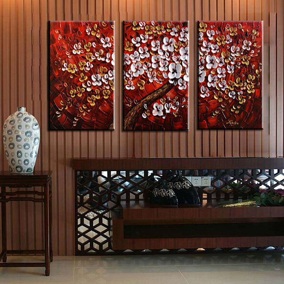 Unframed 3 Panel Handpainted Red White Flower Wishing Tree Thick