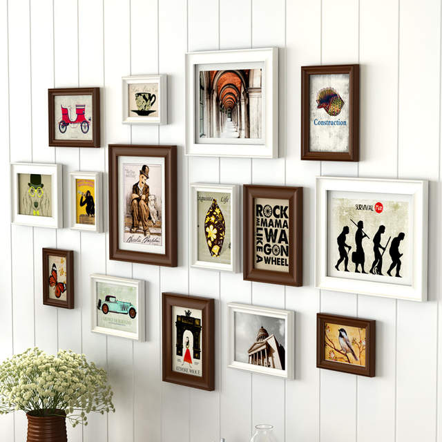 Online Creative White Black Design Home Decor Wall Hanging Photo Frames Wooden Frame Set 15 Pcs Picture Marco Foto Aliexpress Mobile