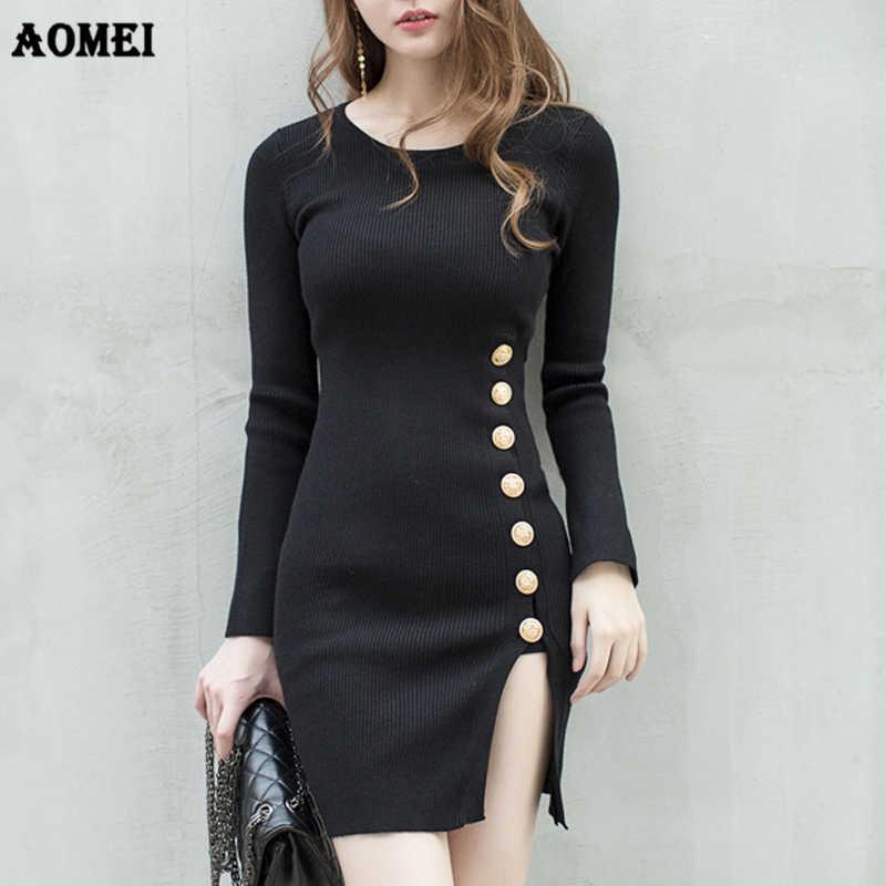 a8f1e32a853b8a8 Для женщин Вязание Оболочка платья на пуговицах Разделение пикантная  повседневная одежда трико для девочек черный свитер